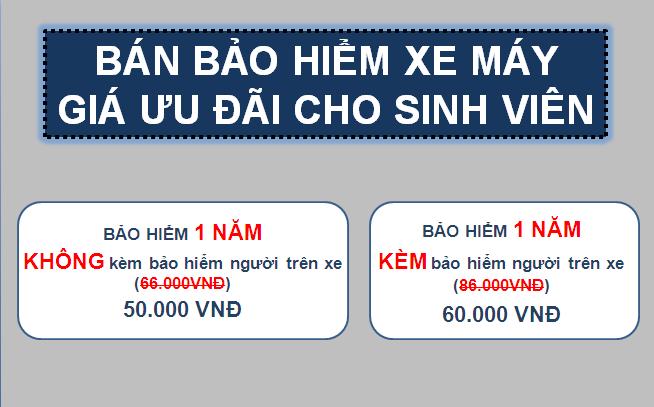 Thông báo nhận Đăng ký bảo hiểm xe máy – 50.000 VNĐ